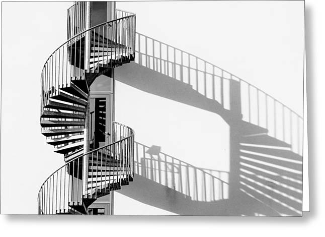 Spiral Staircase With Shadow Greeting Card