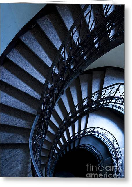 Spiral Stairs In Blue Greeting Card by Jaroslaw Blaminsky