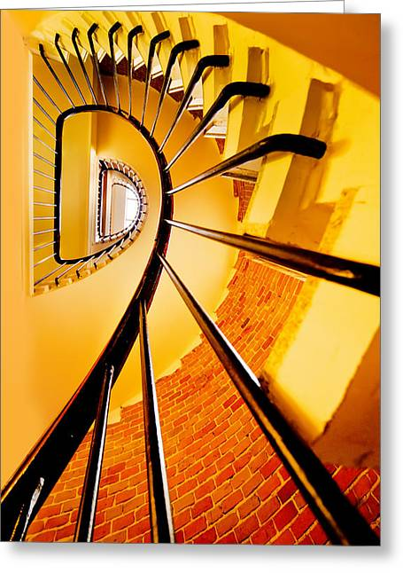 Spirals In Yellow Greeting Card by Jaroslaw Blaminsky