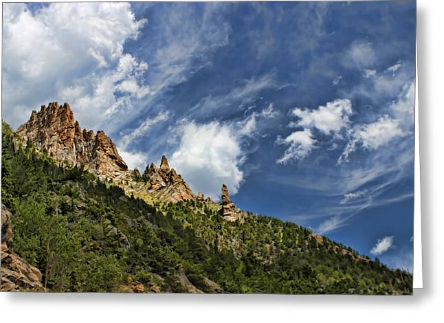 Spires And Sky Greeting Card by Gregory Scott