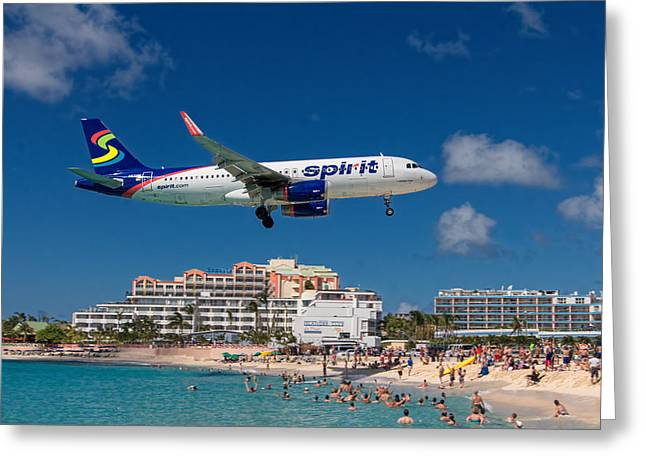 Spirit Airlines Low Approach To St. Maarten Greeting Card
