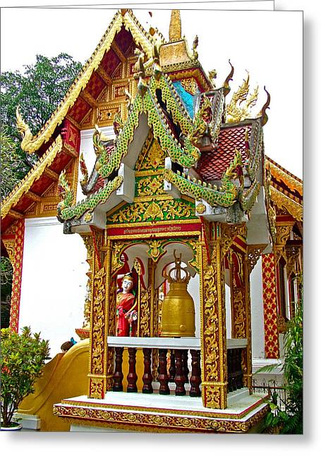 Spirit House At Wat Phrathat Doi Sutep In Chiang Mai-thailand Greeting Card by Ruth Hager