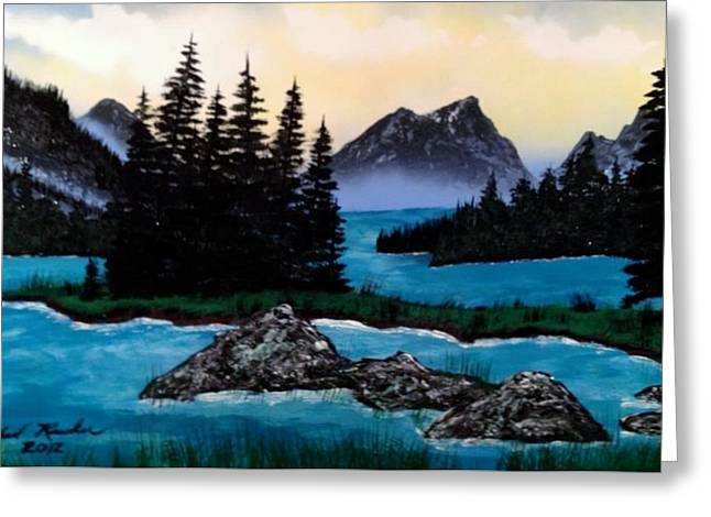 Greeting Card featuring the painting Spirit Island by Michael Rucker