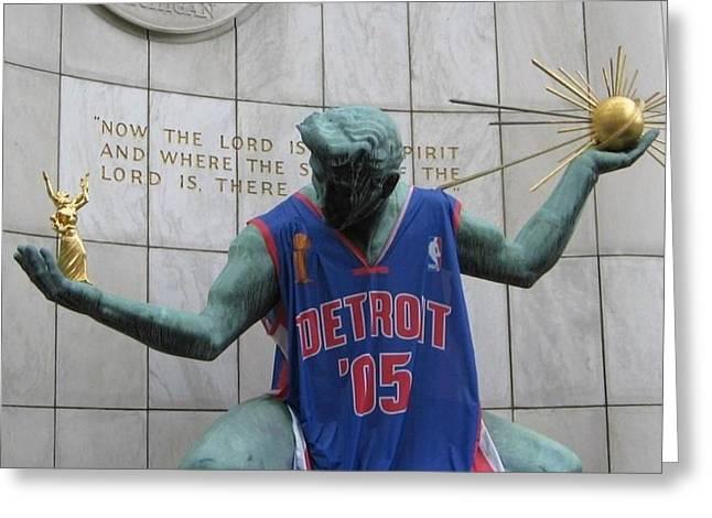 Spirit Of Detroit Piston Greeting Card