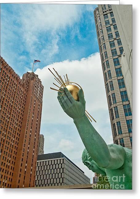 Spirit Of Detroit's Left Hand Greeting Card