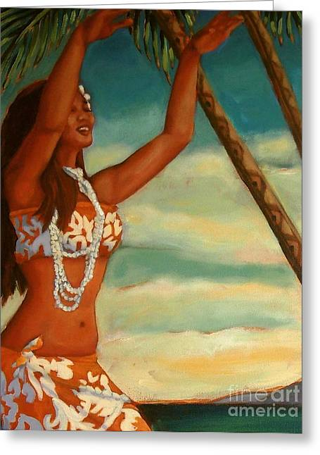 Greeting Card featuring the painting Spirit Of Hula Detail by Janet McDonald