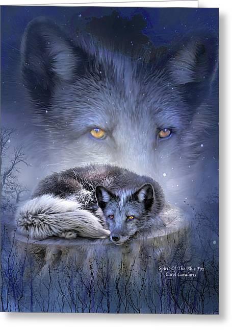 Spirit Of The Blue Fox Greeting Card by Carol Cavalaris