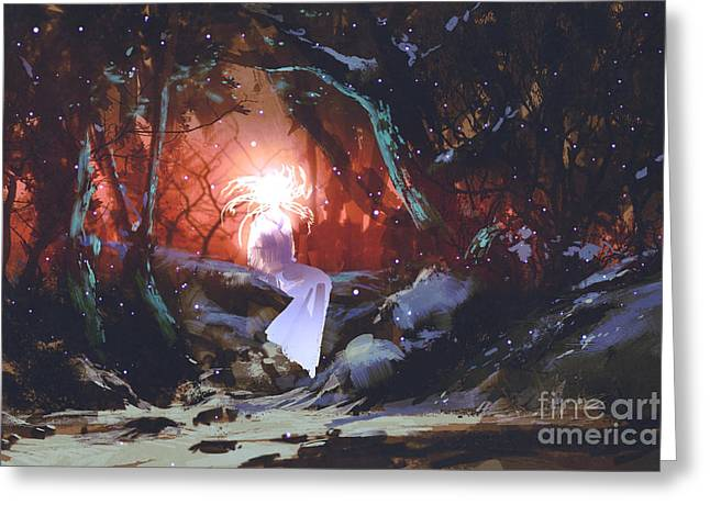 Spirit Of The Enchanted Forest,woman In Greeting Card