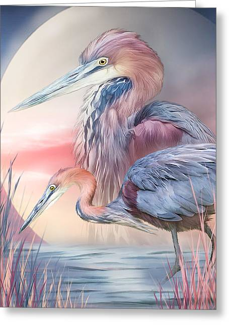 Spirit Of The Heron Greeting Card by Carol Cavalaris