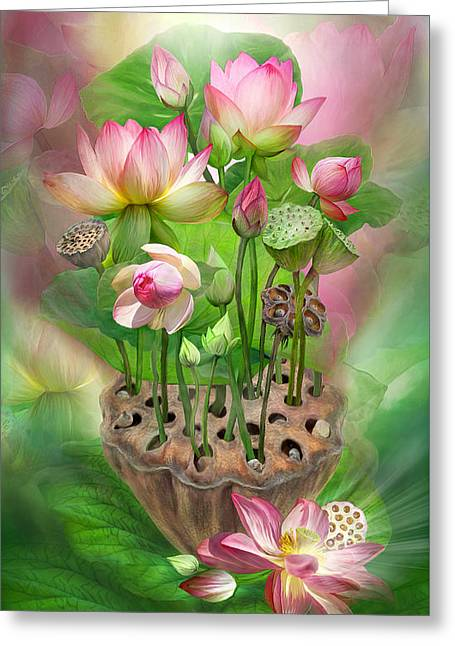 Spirit Of The Lotus Greeting Card by Carol Cavalaris