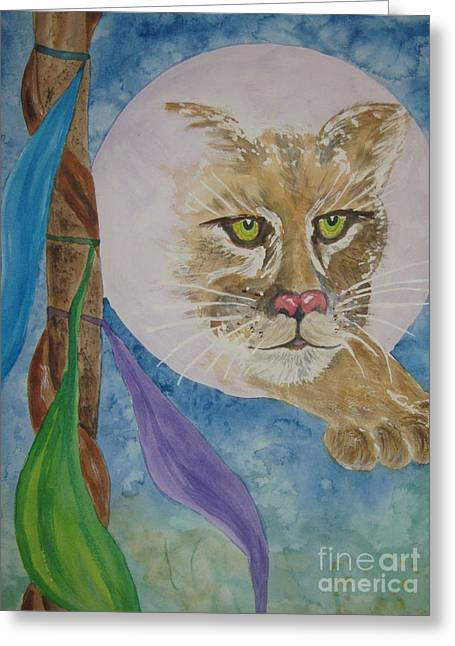 Greeting Card featuring the painting Spirit Of The Mountain Lion by Ellen Levinson