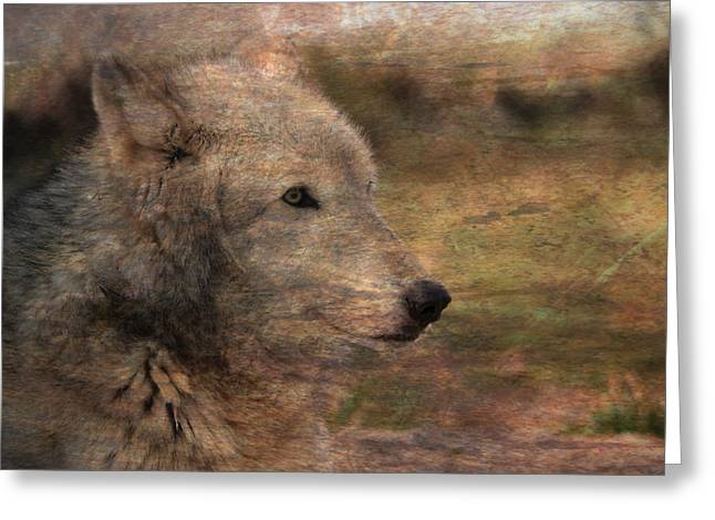 Spirit Of The Wolf Greeting Card by Deena Stoddard
