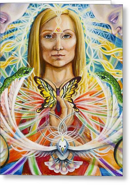 Spirit Portrait Greeting Card by Morgan  Mandala Manley