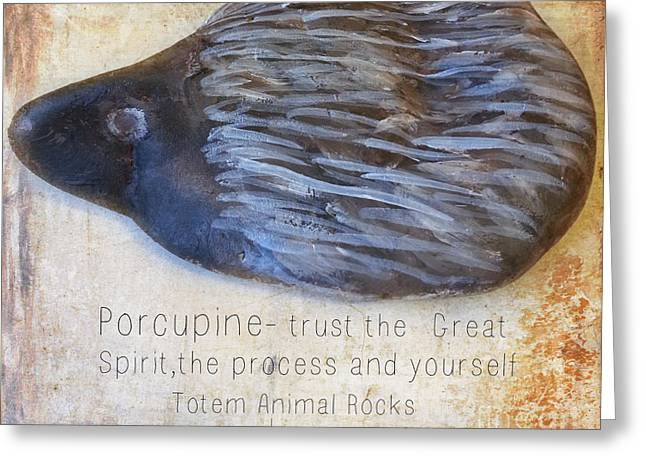 Spirit Rock Totem Animal Porcupine Greeting Card by Sacred  Muse