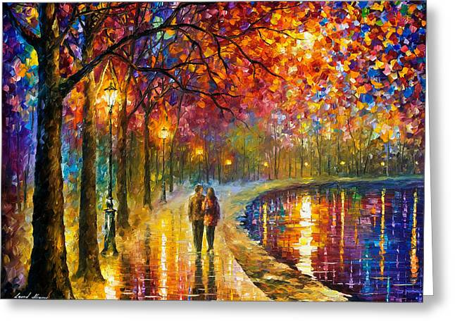 Spirits By The Lake - Palette Knife Oil Painting On Canvas By Leonid Afremov Greeting Card