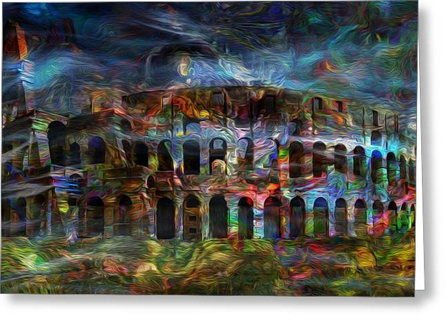 Spirits Of The Coliseum Greeting Card by Jack Zulli
