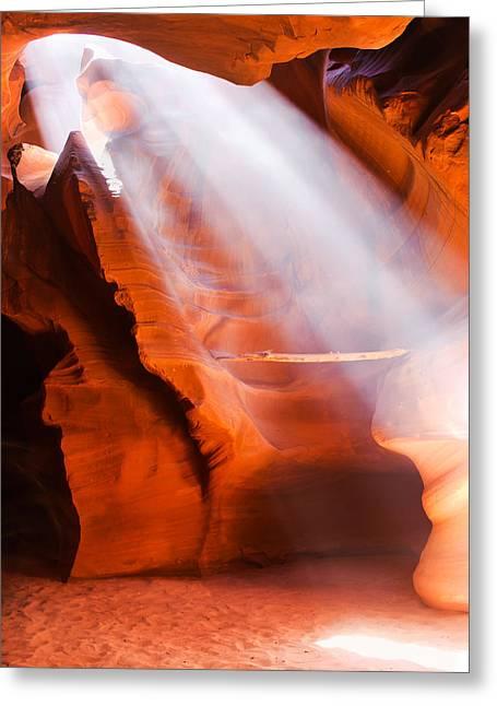 Spiritual Canyon - Upper Antelope Canyon Greeting Card by Gregory Ballos