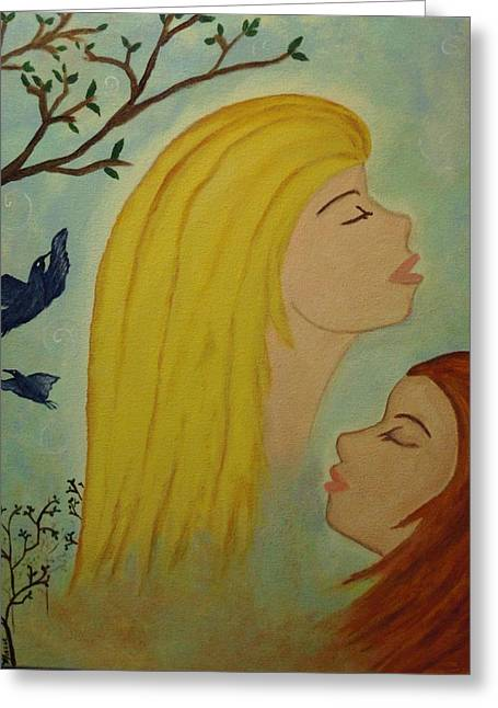 Spiritual Embrace Greeting Card by Marie Tucker