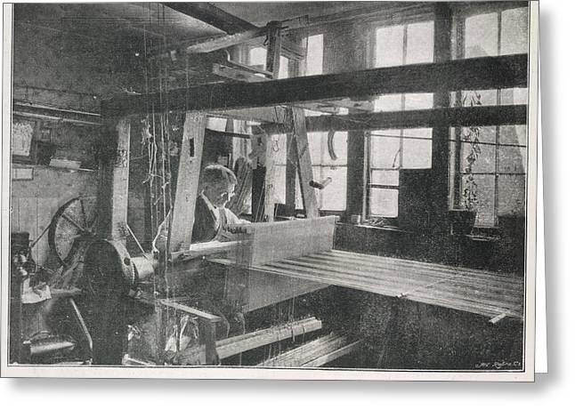 Spitalfields Weaver At His Loom Greeting Card by British Library