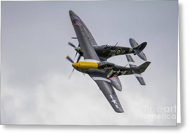 Spitfire And Mustang Greeting Card