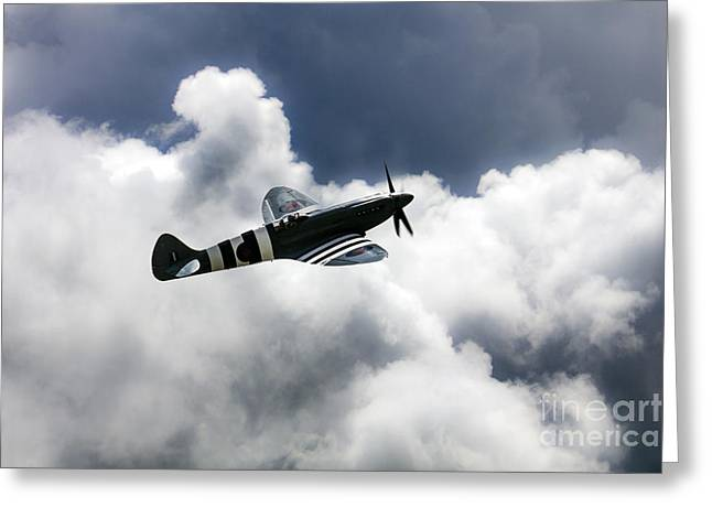 Spitfire Cloudy Skies  Greeting Card