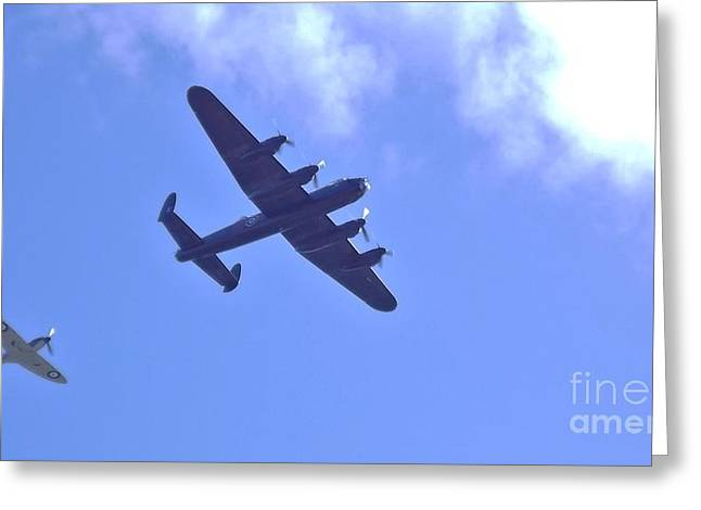 Greeting Card featuring the photograph Spitfire  Lancaster Bomber by John Williams
