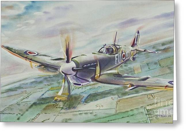 Spitfire Greeting Card by Marco Ippaso