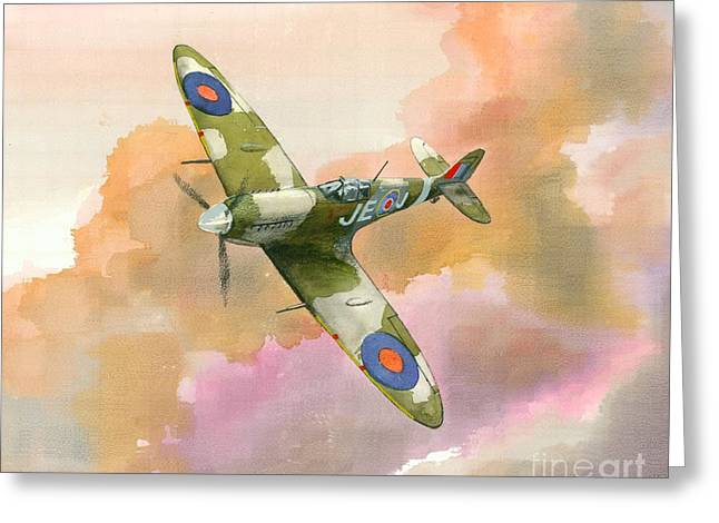 Greeting Card featuring the painting Spitfire Study by Michael Swanson