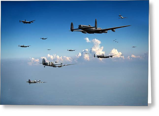 Spitfires Escorting Lancasters Greeting Card