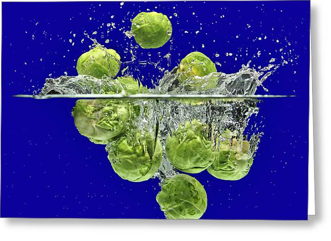 Splash-brussels Sprouts Greeting Card