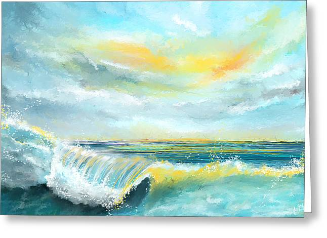 Splash Of Sun - Seascapes Sunset Abstract Painting Greeting Card by Lourry Legarde