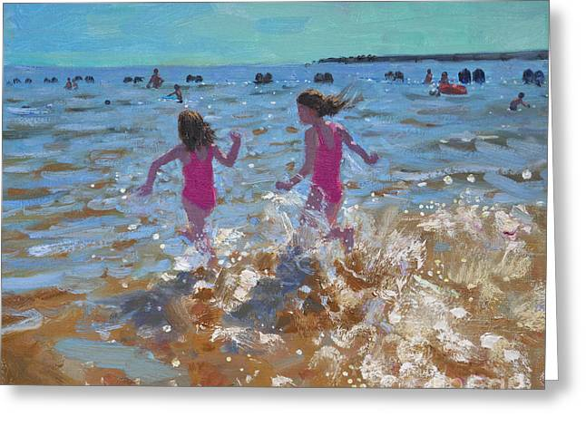 Splashing In The Sea Greeting Card by Andrew Macara