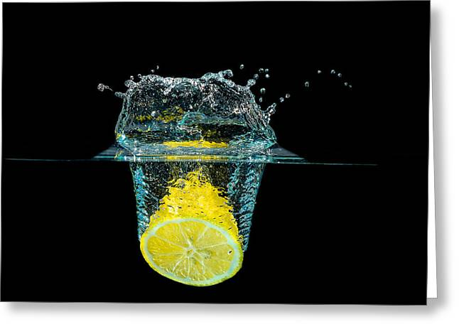 Splashing Lemon Greeting Card