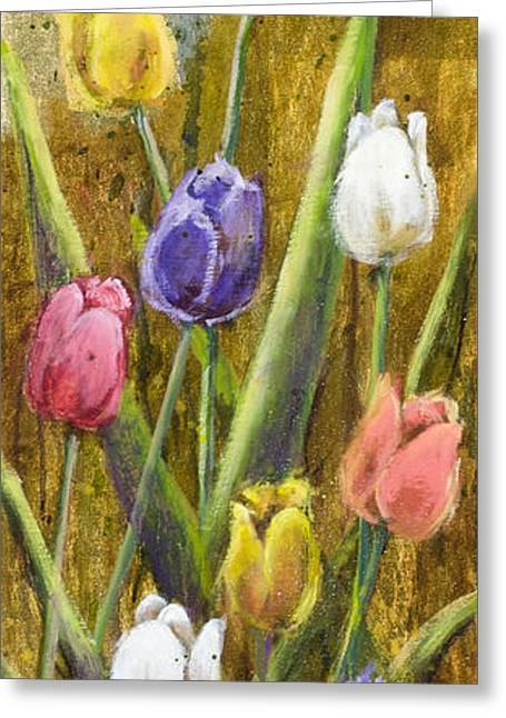 Splashy Tulips II With Gold Leaf By Vic Mastis Greeting Card by Vic  Mastis