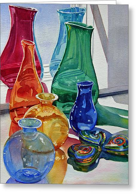 Splendor In The Glass Greeting Card by Judy Mercer
