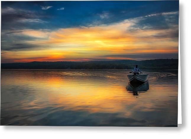 Splendor On The Lake Greeting Card by Sara Hudock