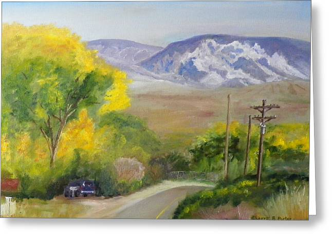 Greeting Card featuring the painting Split Mountain On Golf Course Road by Sherril Porter