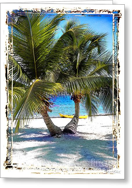 Split Palm With Kayak Greeting Card by Linda Olsen