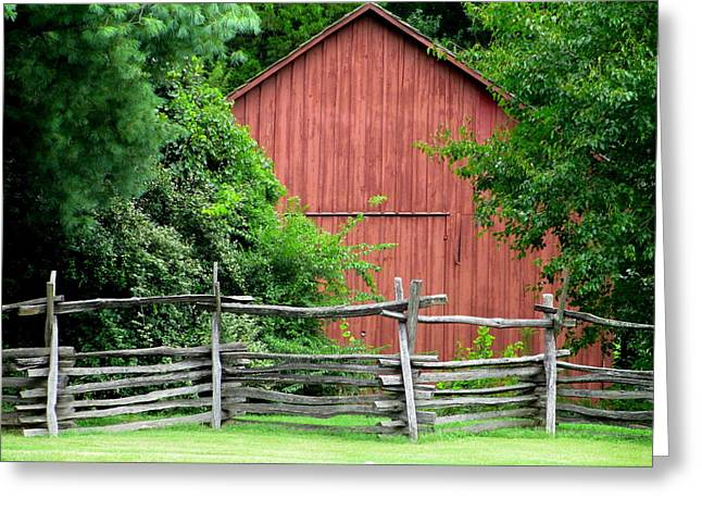 Split Rail Fence And Barn In Old Salem Greeting Card