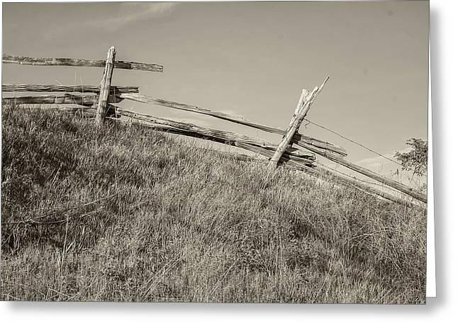 Split Rail Fence Sepia Greeting Card by Steve Harrington