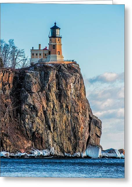 Split Rock Lighthouse In Winter Greeting Card by Paul Freidlund