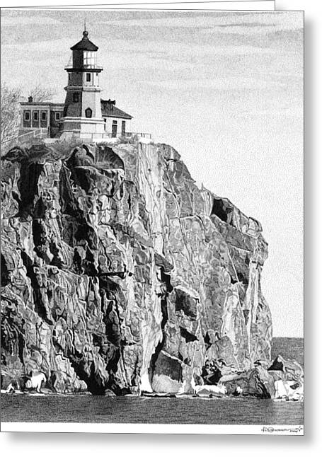 Split Rock Lighthouse Greeting Card by Rob Christensen