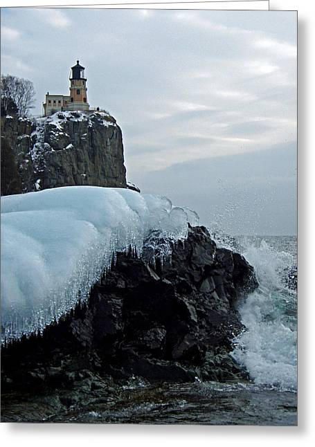 Greeting Card featuring the photograph Split Rock Lighthouse Winter by James Peterson