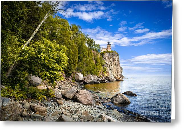 Greeting Card featuring the photograph Split Rock Shoreline by Mark David Zahn Photography