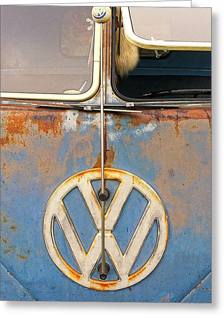 Split Window Bus With Texture Greeting Card by Ron Regalado