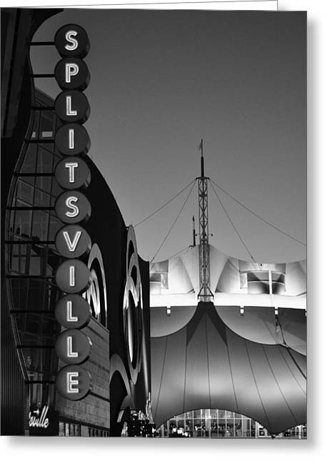 splitsville neon BW Greeting Card by Laura Fasulo