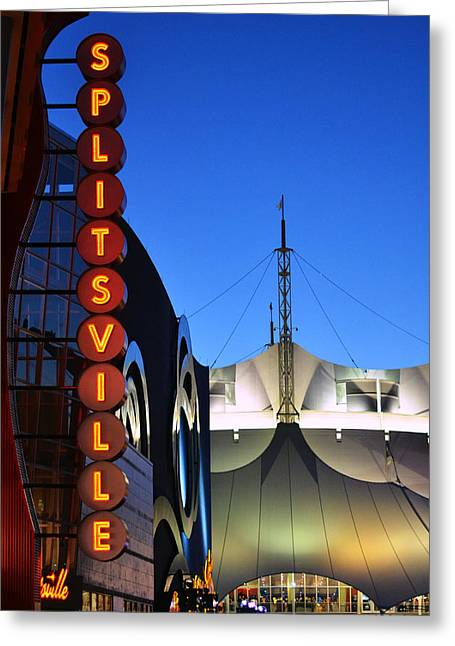 Splitsville Neon Greeting Card by Laura Fasulo