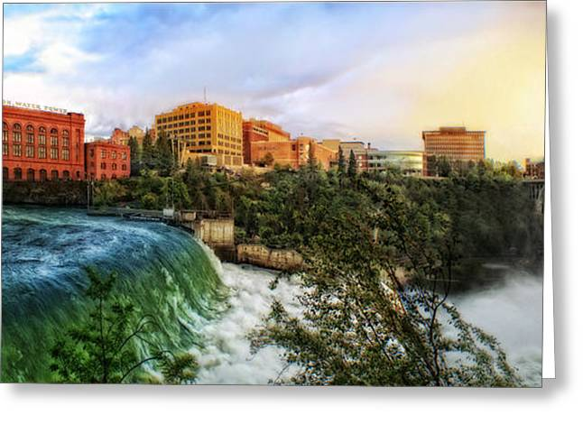 Spokane Falls City Skyline Greeting Card by Dan Quam