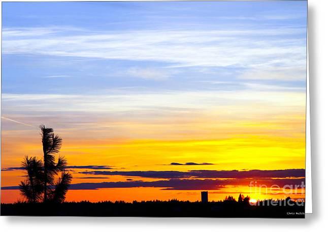Spokane Wa Sunset Greeting Card by Chris Heitstuman