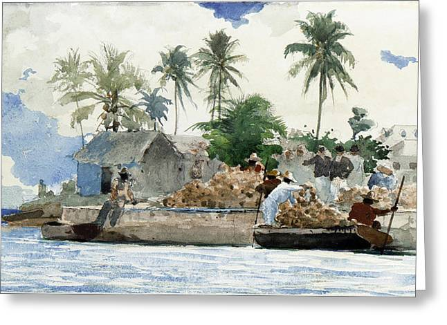 Sponge Fishermen Greeting Card by Winslow Homer